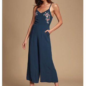 Navy Perfect Places Embroidered Culotte Jumpsuit